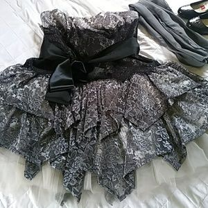 Short grey lace formal dress